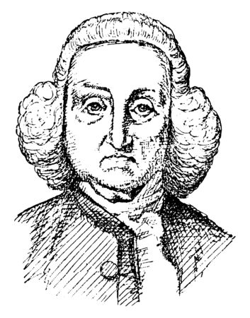 Jonathan Trumbull, 1710-1785, he was governor of Connecticut, vintage line drawing or engraving illustration