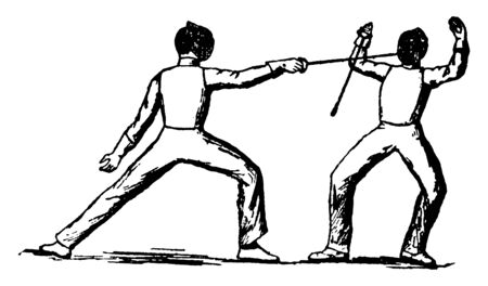 Players using Prime Parry technique of fencing where one of the players is hitting on others player face with edge point of sword, vintage line drawing or engraving illustration. Ilustração