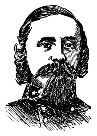 General Pickett, 1825-1875, he was a United States Army officer and a major general in the confederate states army during the American civil war, vintage line drawing or engraving illustration