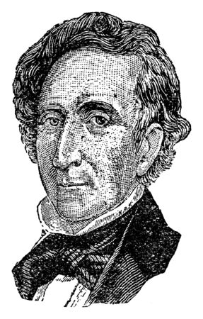 John Tyler, 1790-1862, he was the tenth president of the United States from 1841 to 1845, and the tenth vice president of the United States, vintage line drawing or engraving illustration