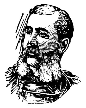 General Otis, 1838-1909, he was second American military governor of the Philippines, vintage line drawing or engraving illustration