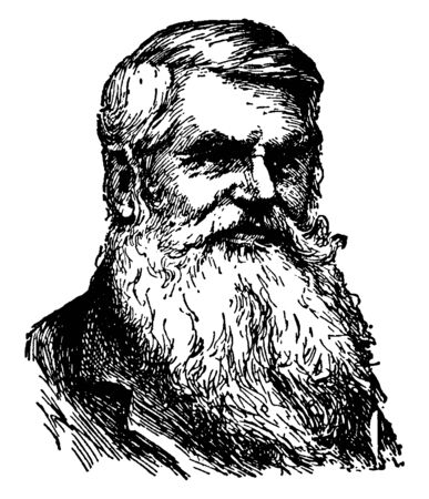 Alfred Russel Wallace, 1823-1913, he was a British naturalist, explorer, geographer, anthropologist, and biologist, vintage line drawing or engraving illustration Vectores