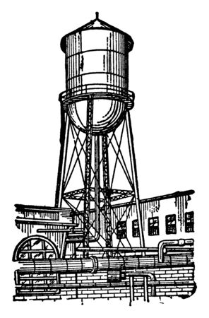 It is a water tank which is placed at the height of the iron stand, vintage line drawing or engraving illustration. 向量圖像