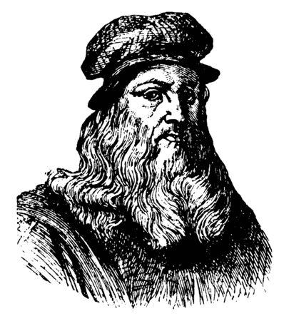 Leonardo Da Vinci, 1452-1519, he was a painter, sculpture and inventor during the high Renaissance, vintage line drawing or engraving illustration Standard-Bild - 133429779