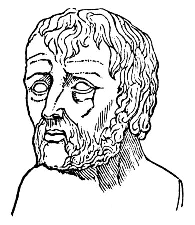 Seneca, he was Roman philosopher, statesman, and writer, vintage line drawing or engraving illustration Illustration
