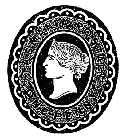 This image represents Tasmania One Penny Envelope in 1891, vintage line drawing or engraving illustration. Reklamní fotografie - 133429782