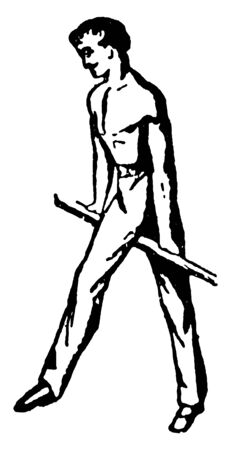In this picture, gymnasts perform Forward swing. Gymnastics is a sport, vintage line drawing or engraving illustration. Illusztráció