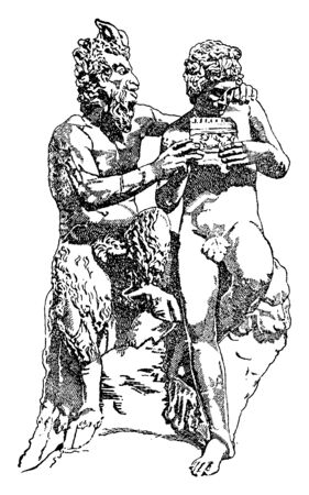 A picture of Pan teaching the music lessons to Syrinx, vintage line drawing or engraving illustration.