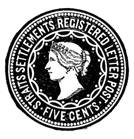 This image represents Straits Settlements 5 Cents Registration Envelope in 1891, vintage line drawing or engraving illustration. Reklamní fotografie - 133429791