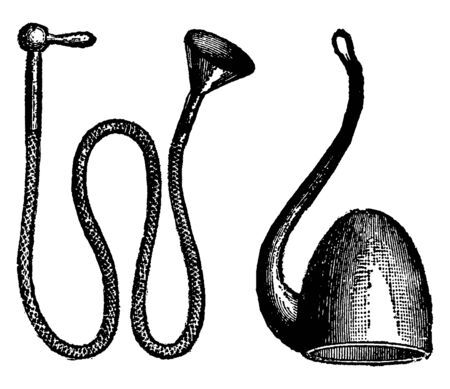 A picture of Ear Trumpet which has the tubing looped to form a straight-sided coil, with three valves. Most trumpets have valves of the piston type, while some have the rotary type, vintage line drawi 일러스트