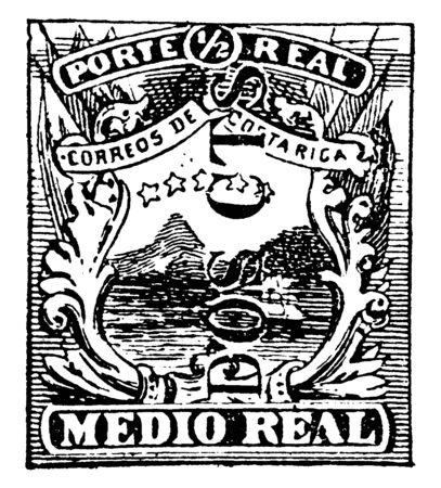 This illustration represents Costa Rica Medio Real Stamp in 1882, vintage line drawing or engraving illustration. 向量圖像