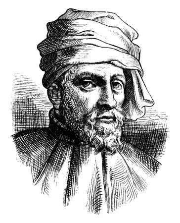 Donatello, ok. 1386-1466, był włoskim renesansowym rzeźbiarzem z Florencji, vintage rysowanie linii lub ilustracja grawerowania