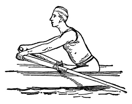 A very first step & position of the man during rowing. He is pushing against the water with the help of the paddle both on his right & left side, vintage line drawing or engraving illustration.