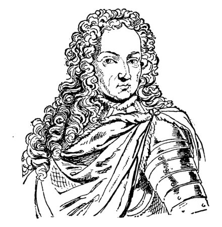 King William III of England, 1650-1702, he was a prince of Orange and king of England, Ireland, and Scotland,, vintage line drawing or engraving illustration Vector Illustration