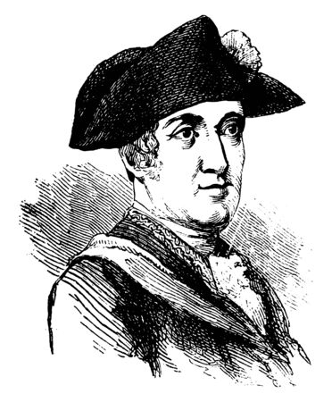 Jean Baptiste Donatien de Vimeur, Count De Rochambeau, 1725-1807, he was a French nobleman and general, vintage line drawing or engraving illustration
