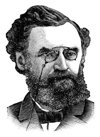 Carl Schurz, 1829-1906, he was an American statesman, journalist, and reformer, vintage line drawing or engraving illustration  イラスト・ベクター素材