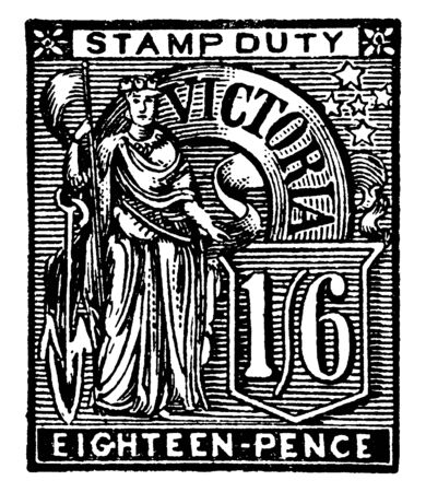 This illustration represents Victoria Eighteen Pence Stamp in 1889, vintage line drawing or engraving illustration.