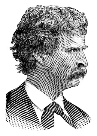 Mark Twain, 1835-1910, he was an American writer, humourist, entrepreneur, publisher, and lecturer, vintage line drawing or engraving illustration