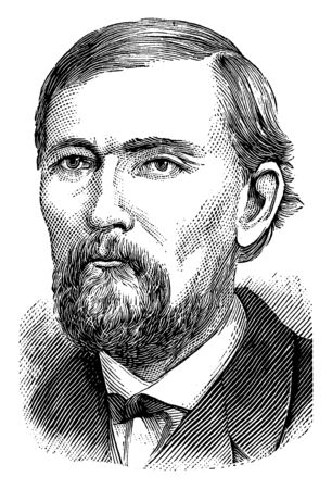David Turpie, 1828-1909, he was an American politician and United States senator from Indiana, vintage line drawing or engraving illustration