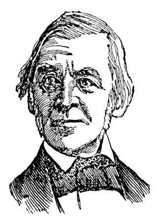Ralph Waldo Emerson, 1803-1882, he was an American essayist, lecturer, and poet who led the transcendentalist movement of the mid-19th century, vintage line drawing or engraving illustration