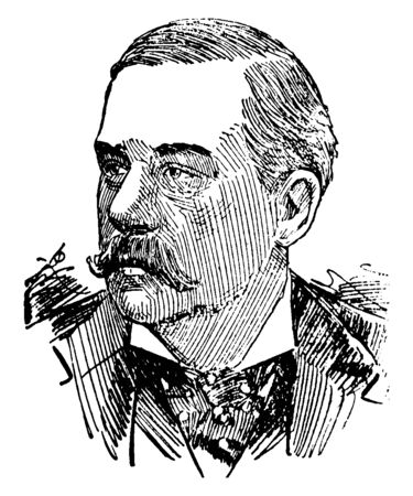 Pierpont Morgan, 1837-1913, he was an American financier and banker, vintage line drawing or engraving illustration
