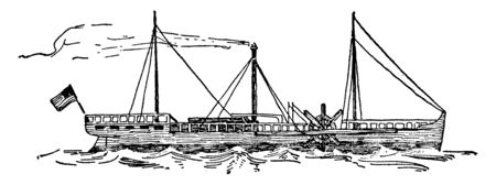 Fulton Clermont which was an American engineer and inventor who is widely credited with developing a commercially successful steamboat, vintage line drawing or engraving illustration.