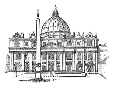 San Pedro en Roma, que es la residencia oficial del Papa en la Ciudad del Vaticano, línea vintage de dibujo o ilustración de grabado. Ilustración de vector
