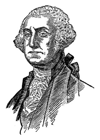 George Washington, 1732-1799, he was an American statesman, soldier, the first president of the United States from 1789 to 1797 and commander-in-chief of the continental army, vintage line drawing or engraving illustration