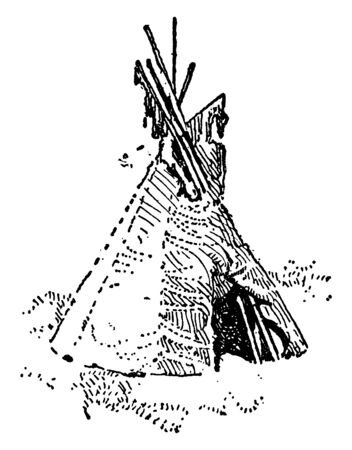 A wigwam, wick up or wetu is a domed dwelling formerly used by certain Native American, vintage line drawing or engraving illustration. Иллюстрация
