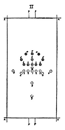 The football players are restarting the game after a foul, vintage line drawing or engraving illustration.