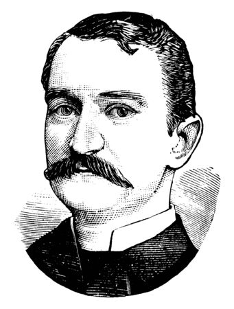 Charles Scribner, he was owner of Scribner and Company and Charles Scribners Sons, vintage line drawing or engraving illustration Иллюстрация
