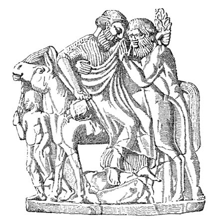 In this picture shown the Dionysus riding on a horse with two people. Dionysus sitting on horse, vintage line drawing or engraving illustration.