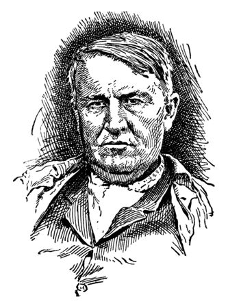 Thomas Alva Edison, 1847-1931, he was an American inventor, businessman, and one of the first inventors to apply the principles of mass production, vintage line drawing or engraving illustration Illustration