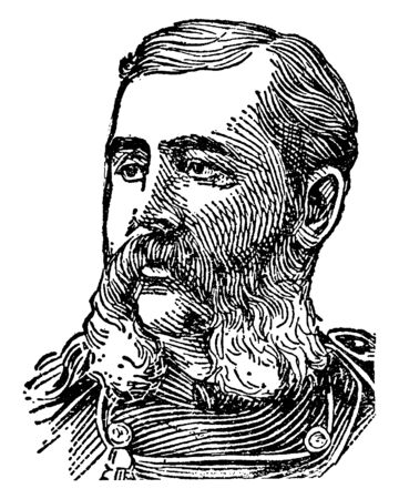 Elwell Otis, 1838-1909, he was second American military governor of the Philippines, vintage line drawing or engraving illustration