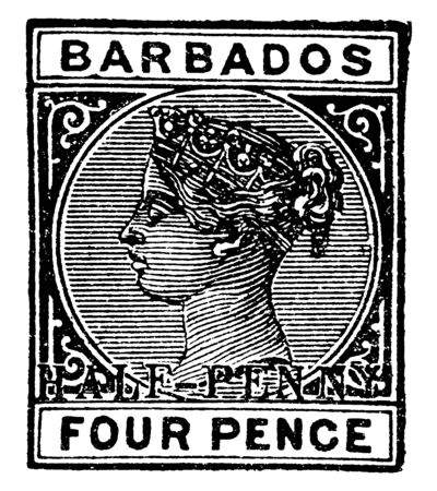 Barbados Four Pence Stamp in 1892 which is Barbados Stamp, vintage line drawing or engraving illustration. Stock Vector - 133039196