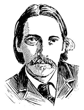Robert Stevenson, 1850-1894, he was a Scottish novelist, poet, essayist, and travel writer, vintage line drawing or engraving illustration