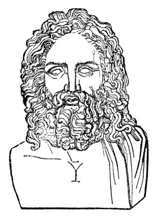 In this image a Head of Olympian Zeus, vintage line drawing or engraving illustration. Ilustracja