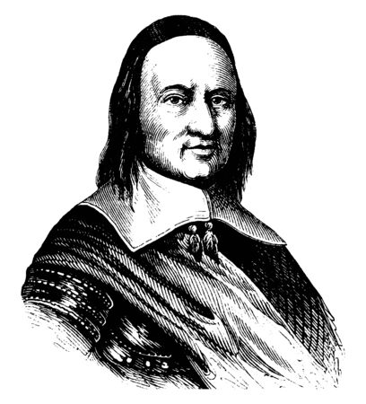 Governor Peter Stuyvesant, he was seventh director-general of New Amsterdam, vintage line drawing or engraving illustration 向量圖像