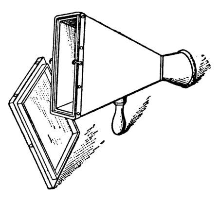 A picture of Fluoroscope device, which is used to obtain real-time moving images of the interior of an object. During a fluoroscopy procedure, an X-ray beam is passed through the body, vintage line drawing or engraving illustration.