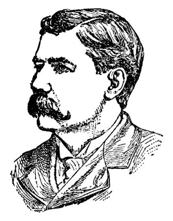 Jonathan P. Dolliver, 1858-1910, he was a republican orator, U.S. Representative, then U.S. Senator from Iowa, vintage line drawing or engraving illustration