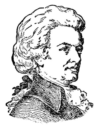 Wolfgang Amadeus Mozart, 1756-1791, he was a prolific and influential composer of the classical era, vintage line drawing or engraving illustration Illustration