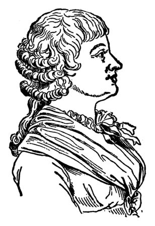 Jeanne Roland, she was a political figure in the French Revolution, vintage line drawing or engraving illustration