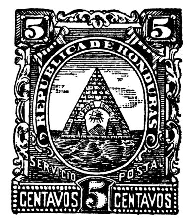 Honduras 5 Centavos Stamp in 1890 which is the project of a collector of many decades, vintage line drawing or engraving illustration. Ilustração