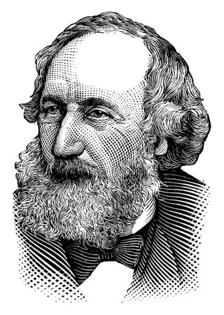 Cyrus W. Field, 1819-1892, he was an American businessman and financier who helped to create the Atlantic Telegraph Company and laid the first telegraph cable across the Atlantic Ocean, vintage line drawing or engraving illustration
