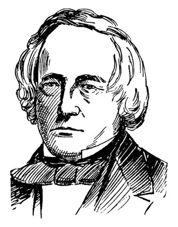 John Slidell, 1793-1871, he was an American politician, lawyer, businessman, and United States senator from Louisiana, vintage line drawing or engraving illustration
