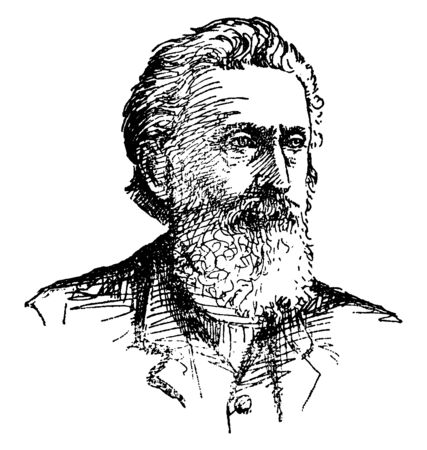 Sidney Edgerton, 1818-1900, he was a politician, lawyer, judge, and teacher from Ohio, first territorial governor of Montana, vintage line drawing or engraving illustration Çizim