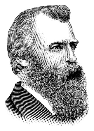 William G. Stewart, he was a United States senator from Nevada, vintage line drawing or engraving illustration