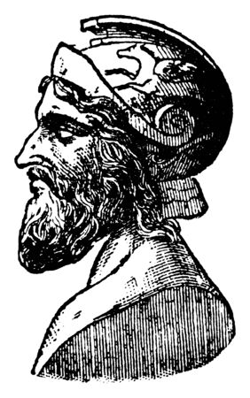 Miltiades, c. 550-489 BC, he was an Athenian statesman, vintage line drawing or engraving illustration