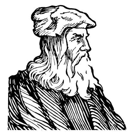 Leonardo Da Vinci, 1452-1519, he was a painter, sculpture and inventor during the high Renaissance, vintage line drawing or engraving illustration