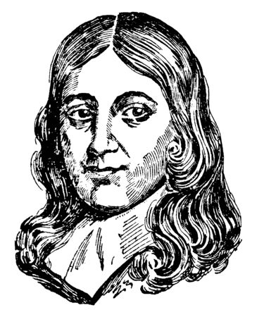 John Milton, 1608-1674, he was an English poet, polemicist, and civil servant for the commonwealth of England, vintage line drawing or engraving illustration